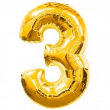 Шар фольгированный цифра 3 (три) зо...