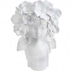 Ваза Девочка с цветами белая, 31 см