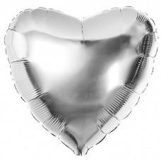 Шар фольгированный Сердце серебряно...